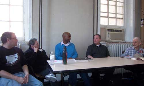 """The panel for """"Beyond the Bookstore"""" (from left to right): Steve Berman (Lethe Press), Sandy Karp (Graeae Press), Michael-Christopher (MC Books), Jameson Currier (Chelsea Station Editions) and Perry Brass (Belhue Press)."""