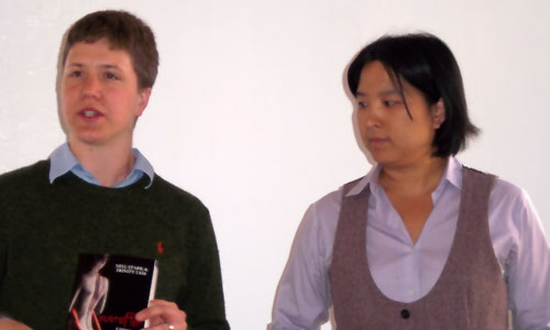 (lr) Nell Stark and Trinity Tam present their book Everafter (Bold Strokes Books) at the reading series.