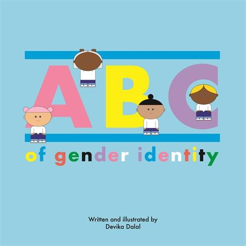 Blue background with multi-colored text and four children representing varying racial identities sitting in and around the letters.