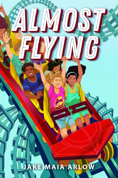 Light blue background and people representing various racial identities with their hands in the air on a rollercoaster.