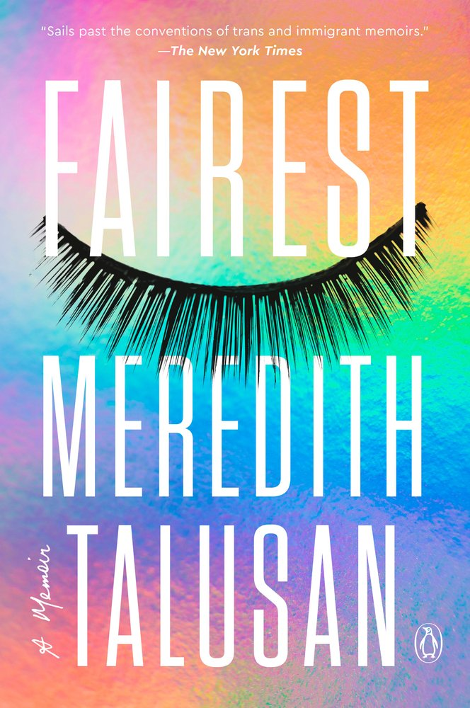 Rainbow-colored background with enlarged false lashes spanning the width of cover.