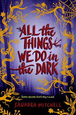 Purple background with forest scene and golden yellow, stylized vines climbing up two trees placed on either side of the book cover.
